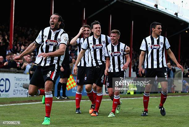 Ollie Palmer of Grimsby Town celebrates his second goal during the Vanarama Football Conference League match between Grimsby Town and Eastleigh FC at...