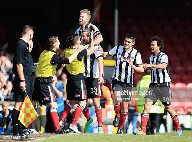 Ollie Palmer of Grimsby Town celebrates scoring a goal during the Vanarama Football Conference League match between Grimsby Town and Eastleigh FC at...