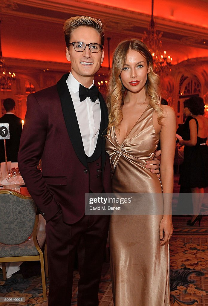 Ollie Proudlock and Emma Connolly attend a drinks reception during the British Heart Foundation: Roll Out The Red Ball at The Savoy Hotel on February 11, 2016 in London, England.