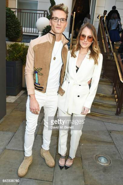 Ollie Proudlock and Rosie Fortescue attend the DAKS show at the Langham Hotel during the London Fashion Week February 2017 collections on February 17...
