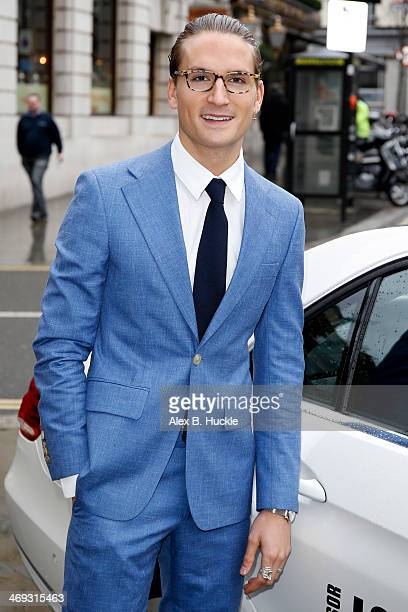Ollie Proudlock is pictured arriving at Freemasons Hall during London Fashion Week on February 14 2014 in London England