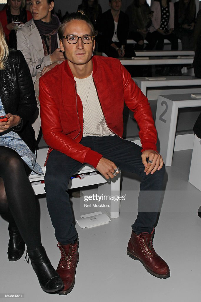 Ollie Proudlock seen at the Maria Grachvogel fashion show at Somerset House on September 17, 2013 in London, England.
