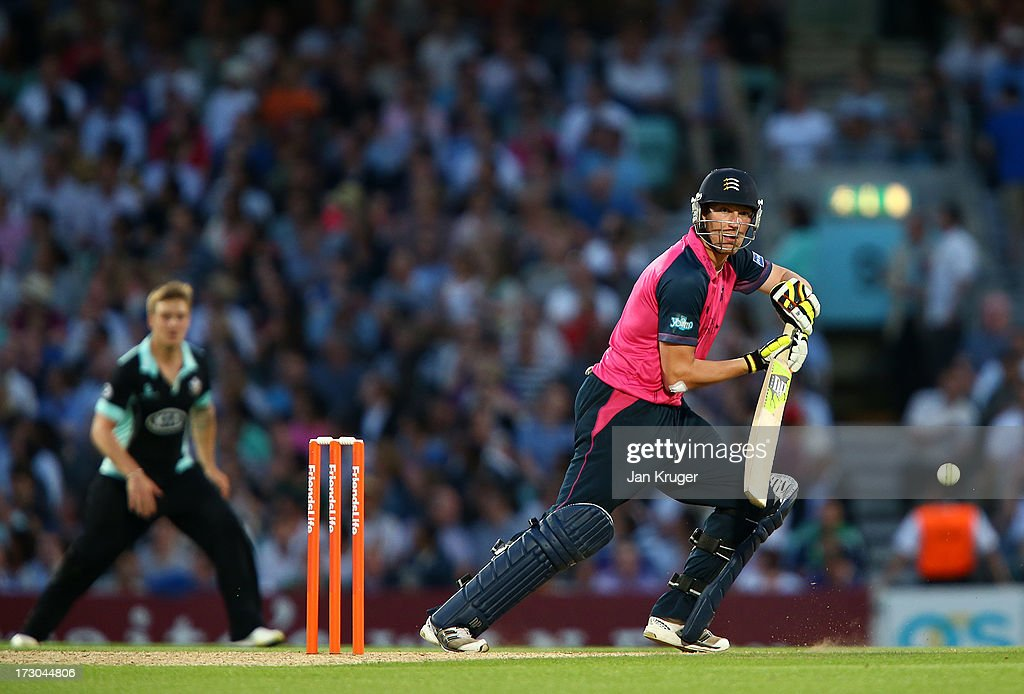 Ollie Rayner of Middlesex guides the ball to third man during the Friends Life T20 match between Surrey Lions and Middlesex Panthers at The Kia Oval on July 5, 2013 in London, England.