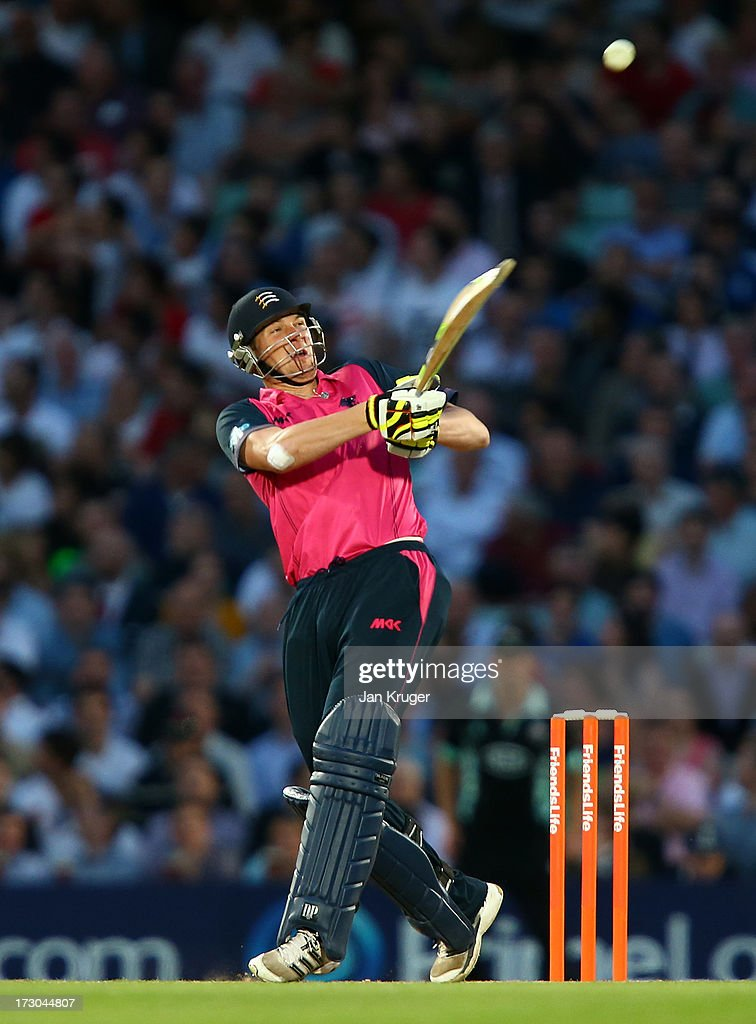 Ollie Rayner of Middlesex plays a pull shot during the Friends Life T20 match between Surrey Lions and Middlesex Panthers at The Kia Oval on July 5, 2013 in London, England.