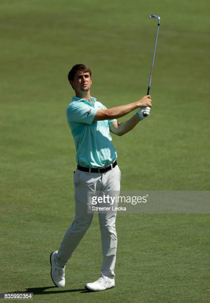 Ollie Schniederjans hits a shot on the ninth hole during the final round of the Wyndham Championship at Sedgefield Country Club on August 20 2017 in...