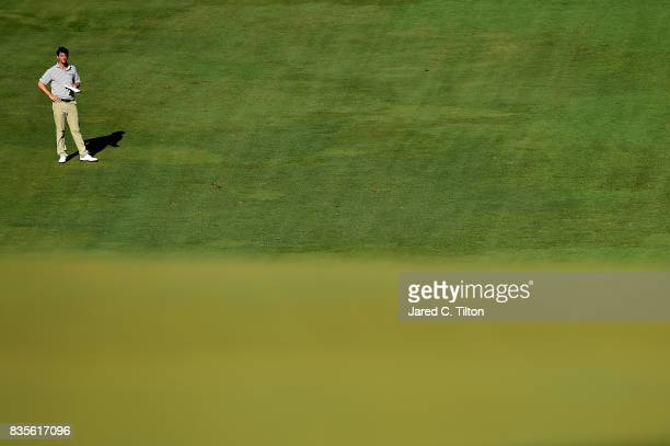 Ollie Schniederjans looks on from the 18th fairway during the third round of the Wyndham Championship at Sedgefield Country Club on August 19 2017 in...