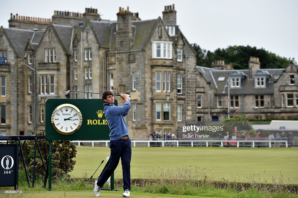 Ollie Schniederjans of the United States plays a practice round ahead of the 144th Open Championship at The Old Course on July 13, 2015 in St Andrews, Scotland.