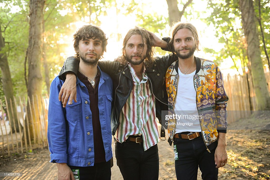 Ollie Walter, William Walter and Timothy Walter of The Family Rain pose for a photo backstage on Day 4 of Latitude Festival 2013 at Henham Park Estate on July 21, 2013 in Southwold, England.