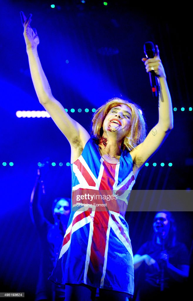 Olly Alexander of Years and Years dresses as Zombie Geri Halliwell's Ginger Spice while performing at Vevo Halloween party at Victoria Warehouse on October 31, 2015 in Manchester, England.