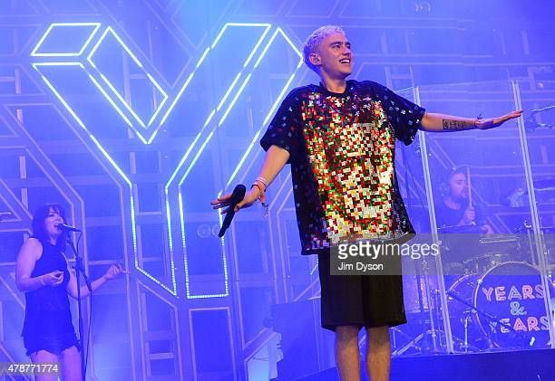 Olly Alexander of Years Years performs live on the John Peel stage during the second day of Glastonbury Festival at Worthy Farm Pilton on June 27...