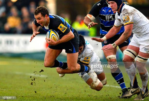 Olly Barkley of Bath in action during the Aviva Premiership match between Bath and Leeds Carnegie at the Recreation Ground on January 08 2011 in Bath...