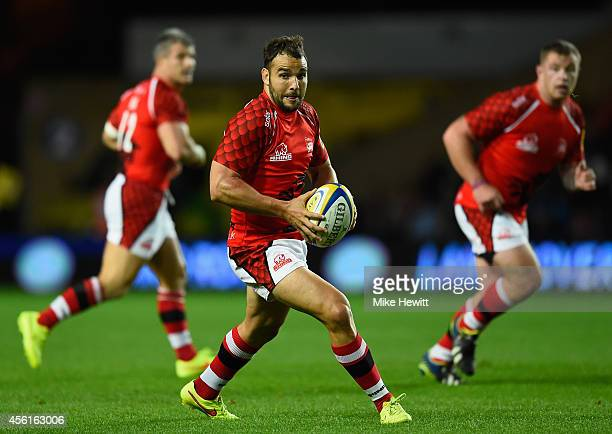 Olly Barkley of London Welsh in action during the Aviva Premiership match between London Welsh and Gloucester Rugby at Kassam Stadium on September 26...