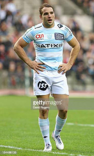 Olly Barkley of Racing Metro looks on during the Heineken Cup match between Saracens and Racing Metro at King Baudouin Stadium on October 20 2012 in...