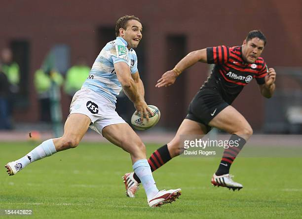 Olly Barkley of Racing Metro passes the ball during the Heineken Cup match between Saracens and Racing Metro at King Baudouin Stadium on October 20...