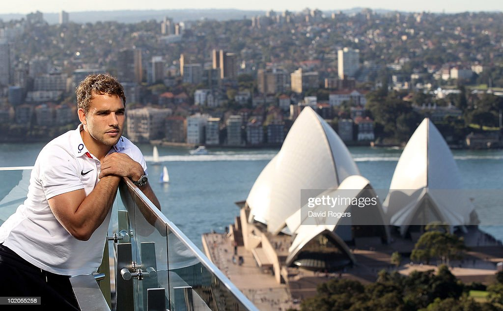 Olly Barkley, the England centre, looks out from the roof of the Intercontinental Hotel over the Sydney Opera House on June 14, 2010 in Sydney, Australia.