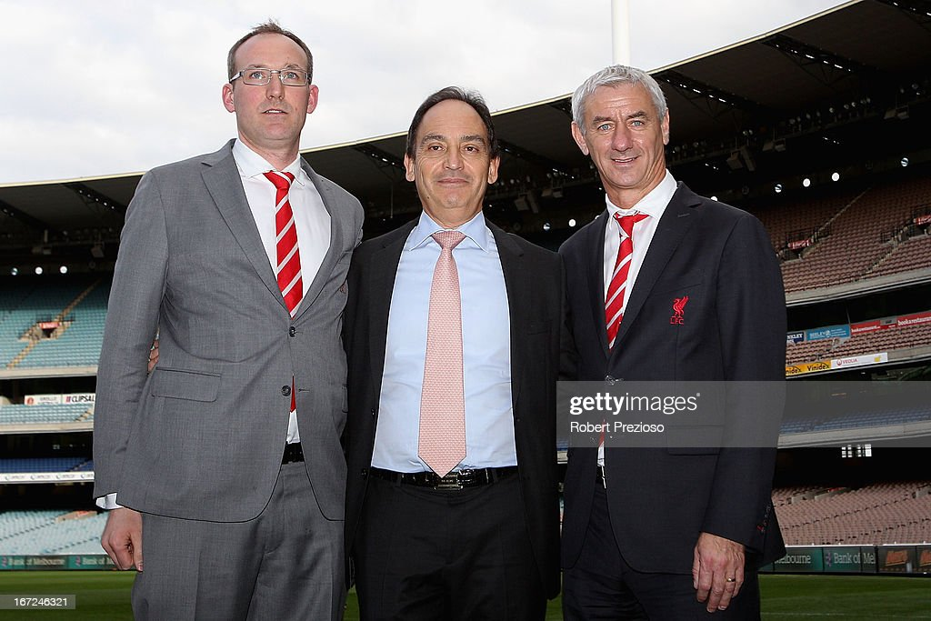 Olly Dale (L) Liverpool FC Sales Director and <a gi-track='captionPersonalityLinkClicked' href=/galleries/search?phrase=Ian+Rush&family=editorial&specificpeople=2107557 ng-click='$event.stopPropagation()'>Ian Rush</a> (R) Liverpool FC Ambassador and Former Player pose for photos after a press conference at Melbourne Cricket Ground on April 23, 2013 in Melbourne, Australia. Liverpool FC will play Melbourne Victory in a friendly at the MCG on July 24th.