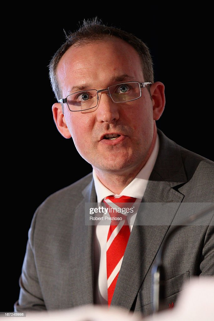 Olly Dale Liverpool FC Sales Director speaks to the media during a press conference at Melbourne Cricket Ground on April 23, 2013 in Melbourne, Australia. Liverpool FC will play Melbourne Victory in a friendly at the MCG on July 24th.