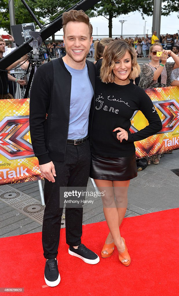 Olly Murs and Carline Flack attend the London auditions of The X Factor at SSE Arena on July 16 2015 in London England