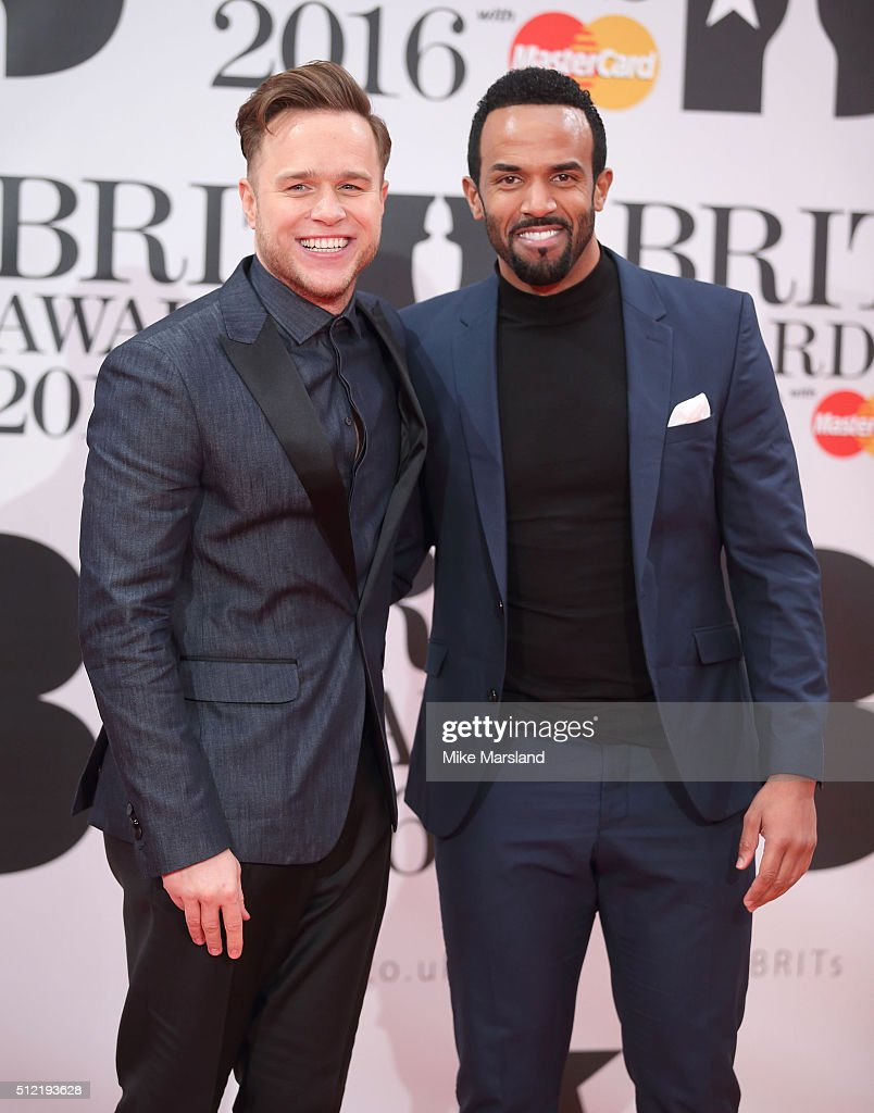 Olly Murs and Craig David attend the BRIT Awards 2016 at The O2 Arena on February 24, 2016 in London, England.