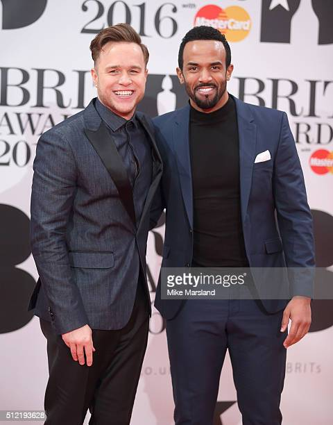 Olly Murs and Craig David attend the BRIT Awards 2016 at The O2 Arena on February 24 2016 in London England