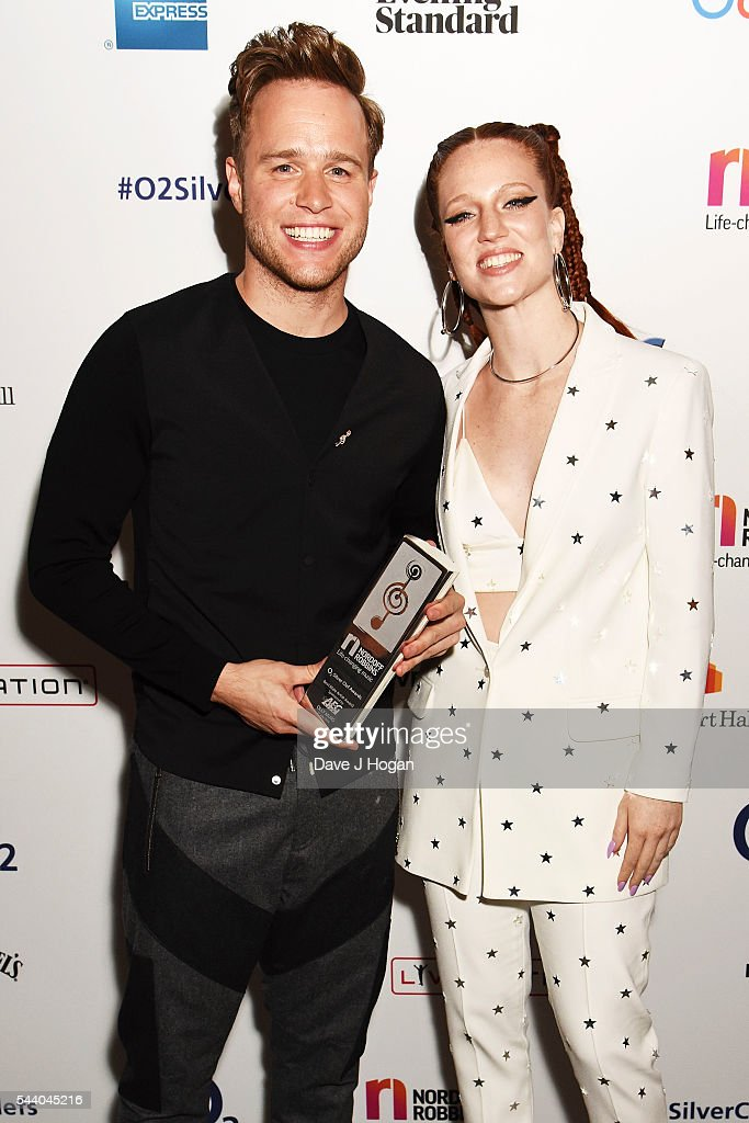 <a gi-track='captionPersonalityLinkClicked' href=/galleries/search?phrase=Olly+Murs&family=editorial&specificpeople=6350751 ng-click='$event.stopPropagation()'>Olly Murs</a> (L) and <a gi-track='captionPersonalityLinkClicked' href=/galleries/search?phrase=Jess+Glynne&family=editorial&specificpeople=12882231 ng-click='$event.stopPropagation()'>Jess Glynne</a> pose for a photo during the Nordoff Robbins O2 Silver Clef Awards on July 1, 2016 in London, United Kingdom.