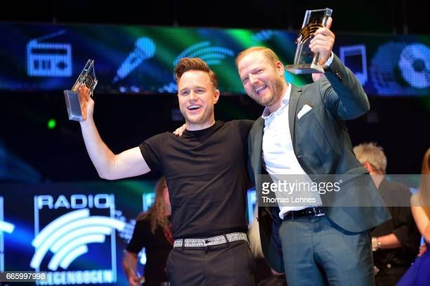 Olly Murs and Mario Barth show their awards at the Radio Regenbogen Award 2017 at Europapark on April 7 2017 in Rust Germany