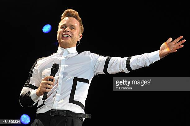 Olly Murs headlines on The MTV Stage during Day 1 of the V Festival at Hylands Park on August 22 2015 in Chelmsford England