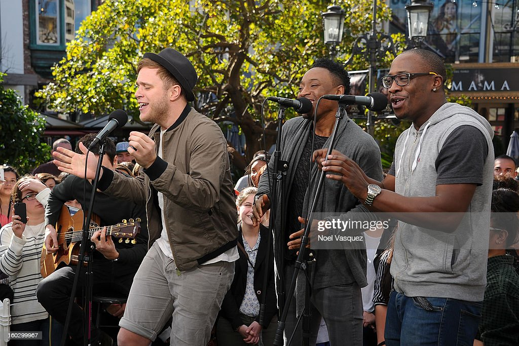 Olly Murs (L) performs at Extra at The Grove on January 28, 2013 in Los Angeles, California.