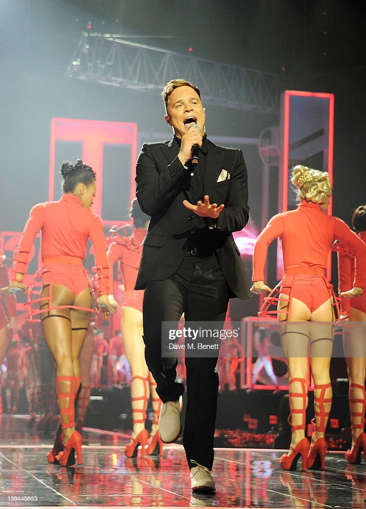 Olly Murs performs during a dress rehearsal at the BRIT Awards 2012 held at O2 Arena on February 21, 2012 in London, England.