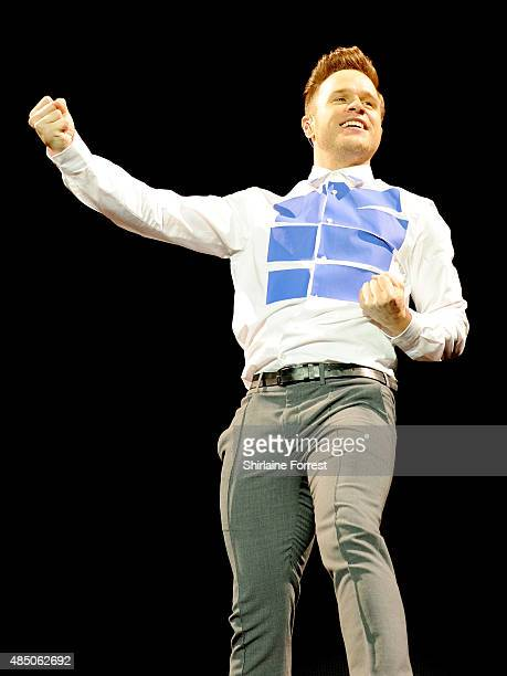 Olly Murs performs headlining the MTV stage on Day 2 of the V Festival at Weston Park on August 23 2015 in Stafford England