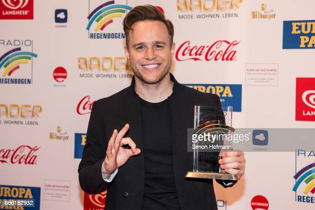 Olly Murs poses with his award prior to the Radio Regenbogen Award 2017 at Europapark on April 7 2017 in Rust Germany