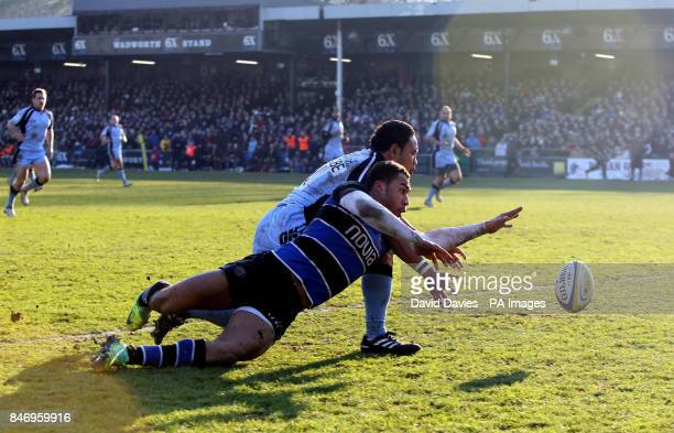 Olly Woodburn beats Newcastle's Suka Hufanga to the touch down to score Bath's second try during the Aviva Premiership match at the Recreation Ground...