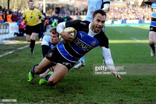 Olly Woodburn goes over to score Bath's opening try during the Aviva Premiership match at the Recreation Ground Bath