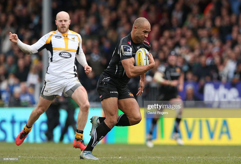 Olly Woodburn of Exeter breaks with the ball during the Aviva Premiership match between Exeter Chiefs and Wasps at Sandy Park on May 1, 2016 in Exeter, England.