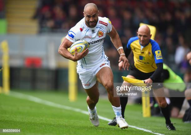 Olly Woodburn of Exeter Chiefs during the Aviva Premiership match between Leicester Tigers and Exeter Chiefs at Welford Road on September 30 2017 in...