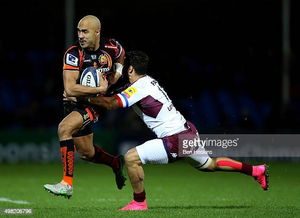 Olly Woodburn of Exeter is tackled by Julien Rey of BordeauxBegles during the European Rugby Champions Cup match between Exeter Chiefs and...