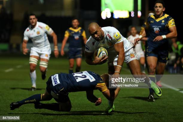 Olly Woodburn of Exeter makes a break for the line during the Aviva Premiership match between Worcester Warriors and Exeter Chiefs at Sixways Stadium...