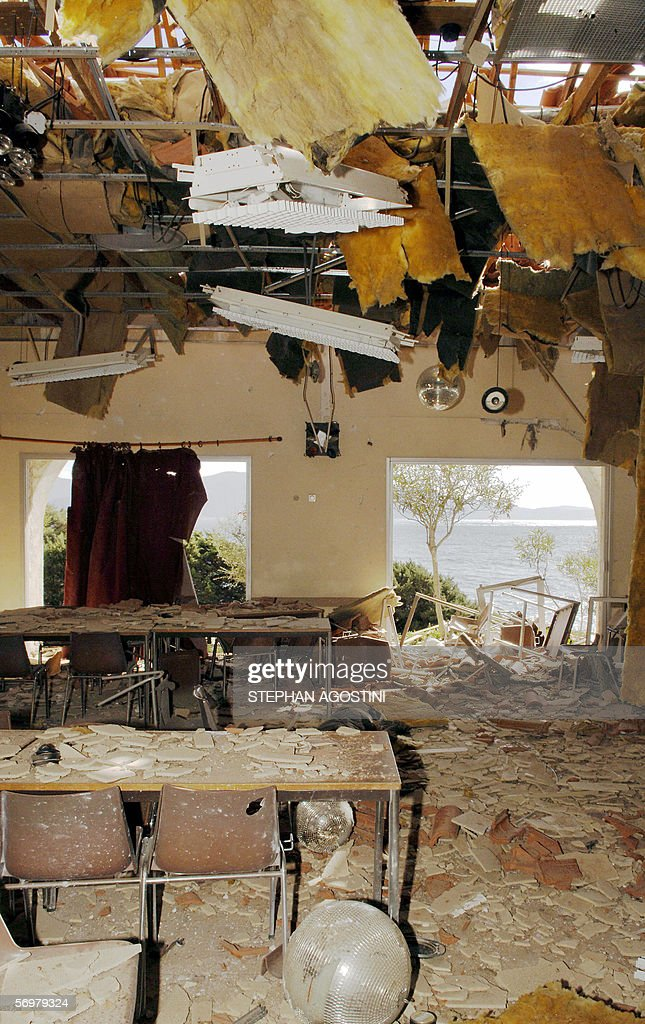 Picture taken 02 March 2006 of the damaged building of a resort complex in Olmeto southern Corsica the day after it was bombed The property is owned...