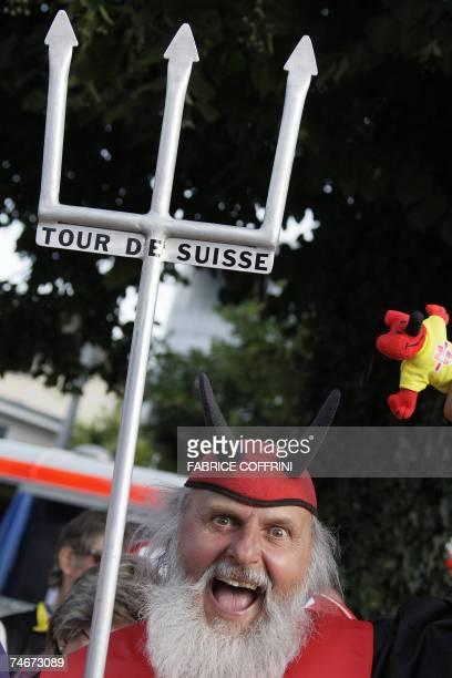 German fan Didi Senft nicknamed El Diablo poses in the podium area 16 June 2007 of the prologue of the 71th 'Tour de Suisse' UCI protour cycling...