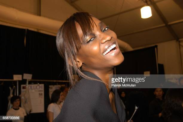 Oluchi in beauty at the Luca Luca Fashion Show at The Tent Bryant Park on February 8 2004 in New York City