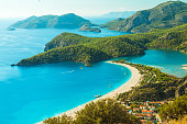 oludeniz lagoon in sea landscape view of beach, Turkey