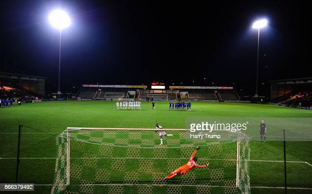 Olufela Olomola of Yeovil Town scores a penalty during the shoot out during the Checkatrade Trophy match between Yeovil Town and Chelsea U21 at Huish...
