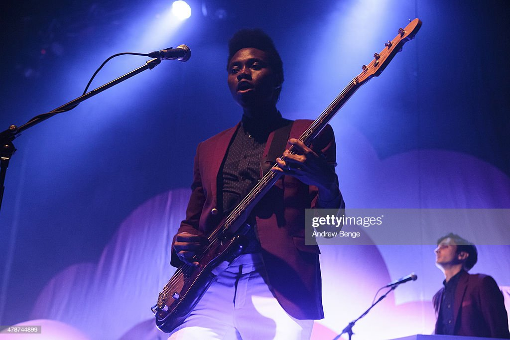 Olugbenga Adelekan and Oscar Cash of Metronomy perform on stage at Ritz Manchester on March 14, 2014 in Manchester, United Kingdom.