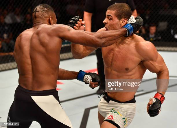 Oluwale Bamgbose and Paulo Borrachinha of Brazil trade punches in their middleweight bout during the UFC 212 event at Jeunesse Arena on June 3 2017...