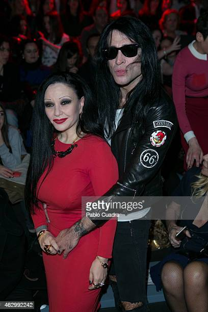 Olvido Gara and husband Mario Vaquerizo attend the catwalks during Madrid Fashion Week Fall/Winter 2015/16 at Ifema on February 8 2015 in Madrid Spain