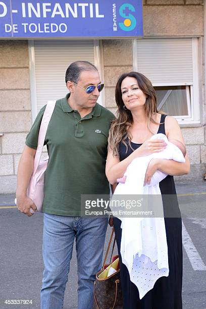 Olvido Hormigos and Jesus Atahonero present their daughter Valeria on August 4 2014 in Toledo Spain