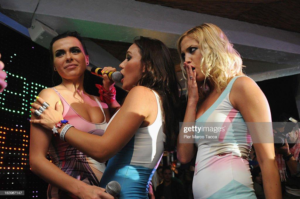 Olya Serebkina, Marina Lizorkina, Elena Temnikova of Russia's group Serebro perform at Le Rotonde discotheque on September 15, 2012 in Garlasco, Italy.