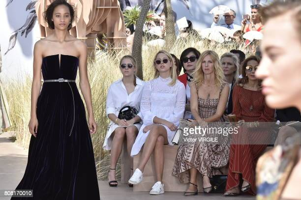 Olympia de Grece Sandrine Kiberlain and Marisa Berson during the Christian Dior Haute Couture Fall/Winter 20172018 show as part of Haute Couture...