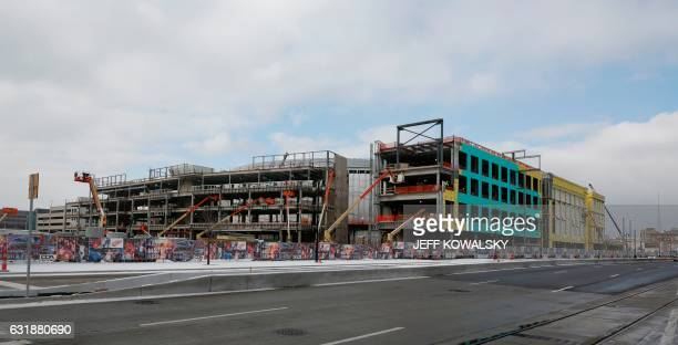 Olympia Entertainment's Little Caesars Arena under construction on January 6 2017 in Detroit Michigan which will be home to the NBA's Detroit Pistons...