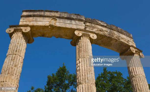Olympia Peloponnese Greece Ancient Olympia The Philippeion 4th century BC Closeup of columns and capitals of a circular building of the Ionic order...